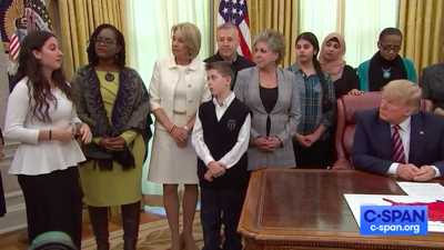Trump hears from bullied student, issues guidelines on school prayer, federal funds for religious entities