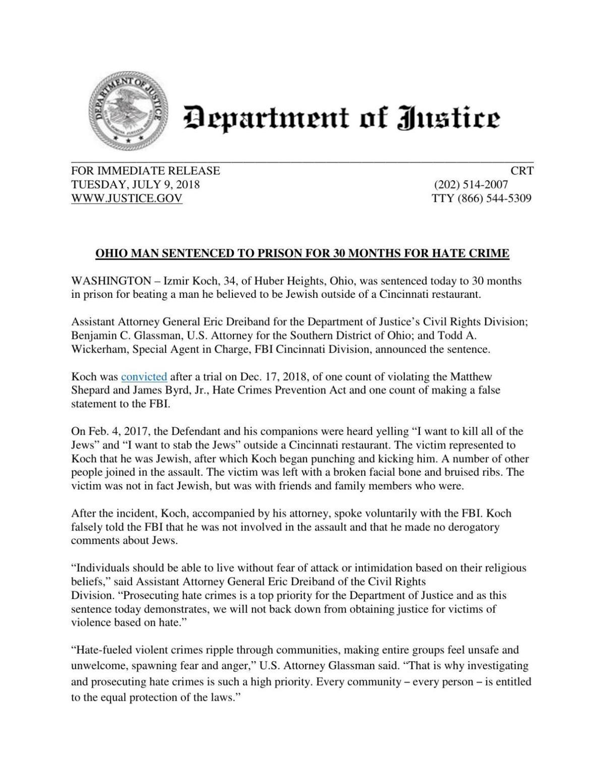 Sentencing News Release On Koch Clevelandjewishnews Com