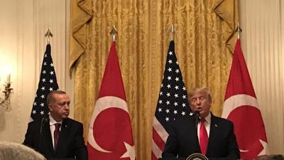 In White House visit, Trump touts US alliance with Turkey; Erdoğan slams critics