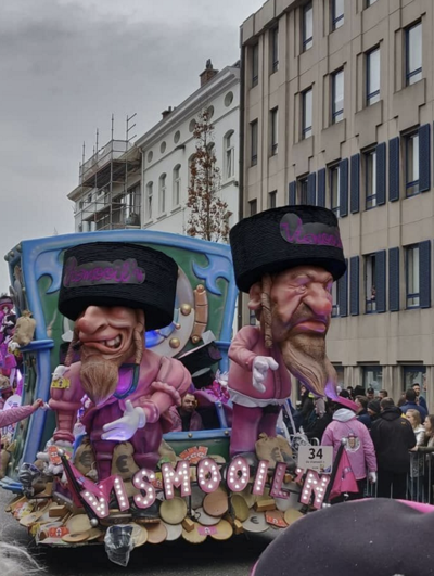 Puppets of Jews on display at the Aalst Carnaval in Belgium on March 3, 2019.