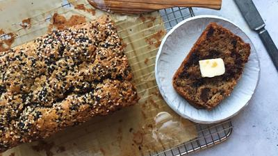 Spelt banana bread with chocolate, dates and tahini lends a twist to 2020's quarantine darling