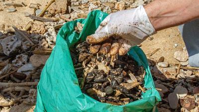 Israeli volunteers clean tar off the Gan Or beach