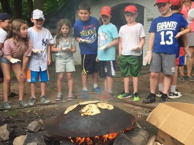 campers make pita