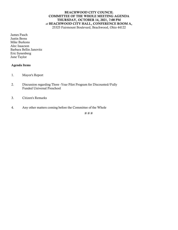 Beachwood agenda for Oct. 14, 2021