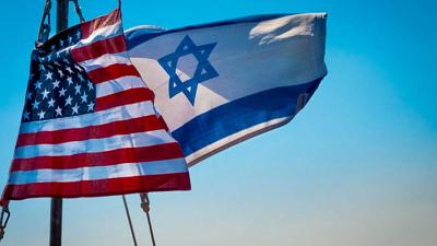 American and Israeli flags flying together.