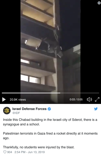 Rocket fired from Gaza strikes school building in Sderot