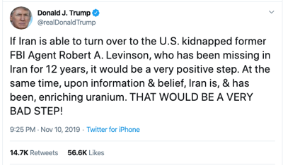 Trump says an Iranian decision to return Robert Levinson it would be a 'positive step'