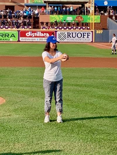 Brenda Schwartz throws first pitch at Akron RubberDucks game