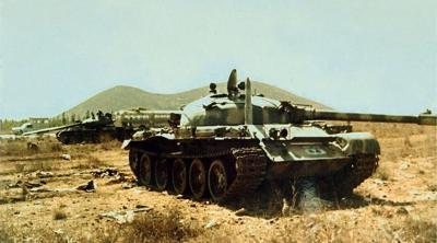 Abandoned Syrian tanks in the Golan Heights during the 1973 Yom Kippur War.