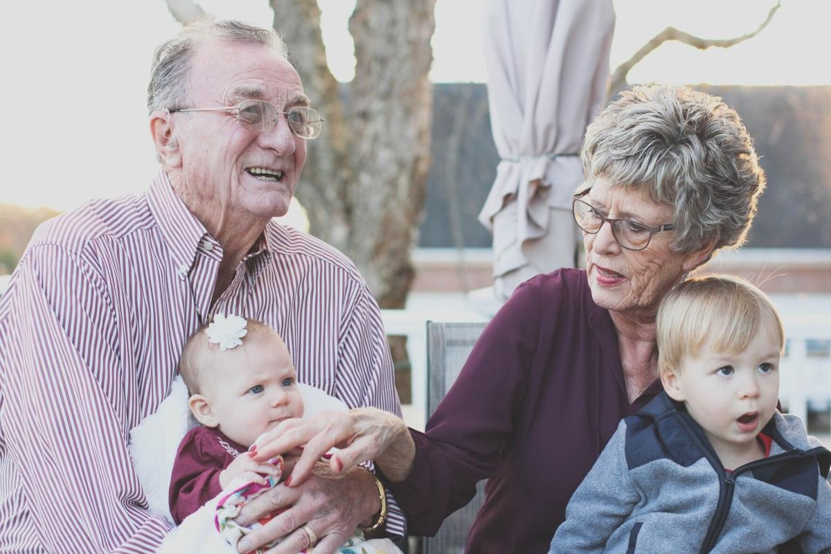 Stock grandparents senior living family