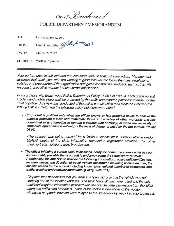 Blake Rogers Reprimand File