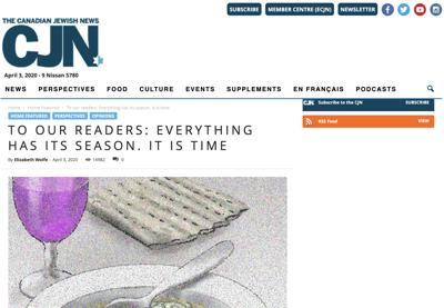 After 60 years, Canada's leading Jewish newspaper to close amid coronavirus crisis