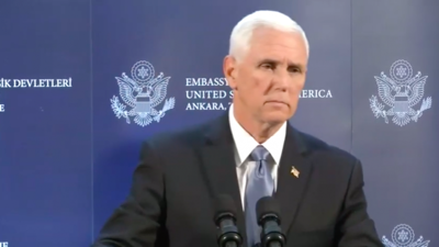 U.S. Vice President Mike Pence at a press conference in Ankara