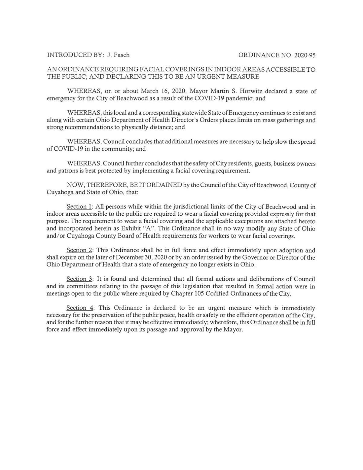 A Beachwood ordinance requiring facial coverings