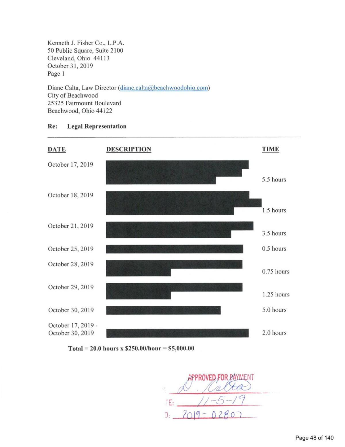 Invoice for Kenneth J. Fisher