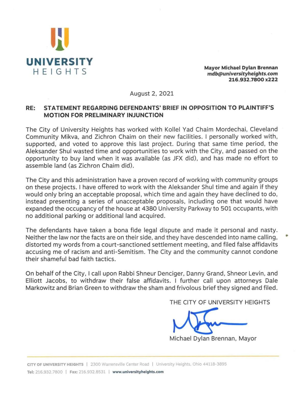Mayor Michael Dylan Brennan's signed statement
