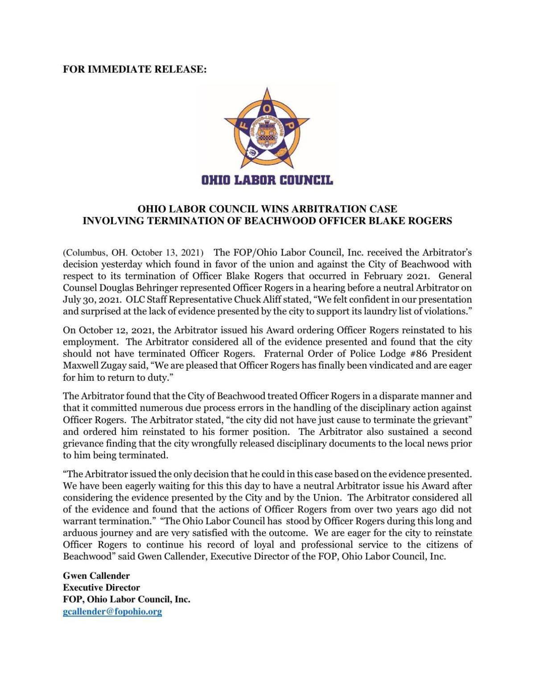Ohio Labor Council news release