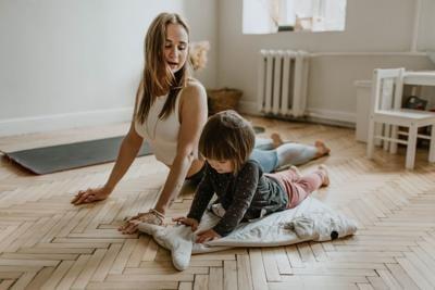 stock yoga mom kid