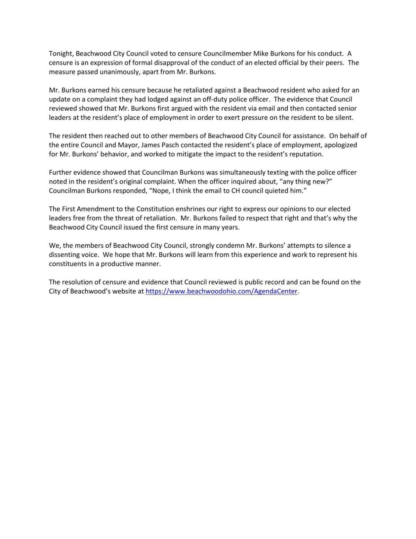 Beachwood City Council Censure Statement