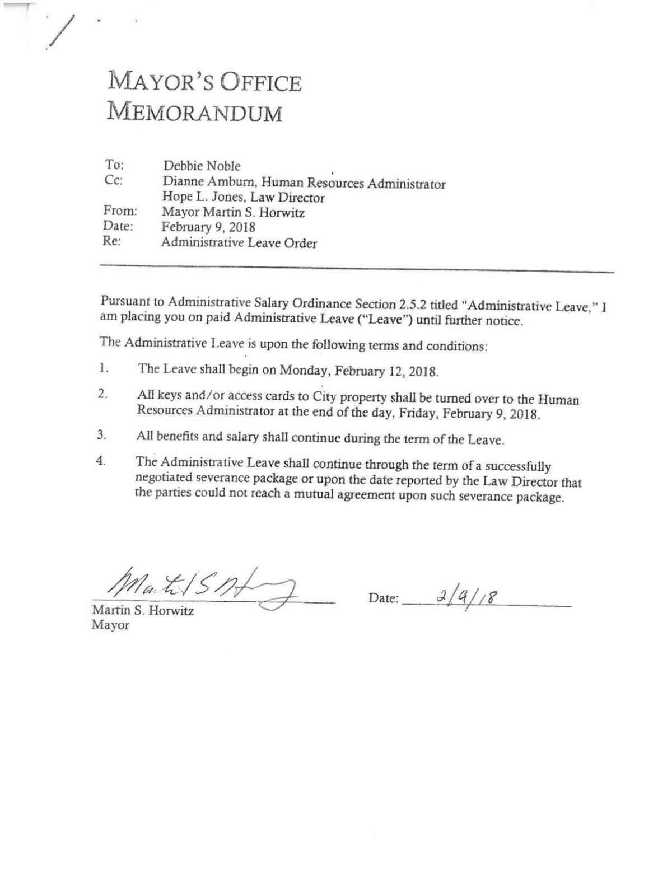 Mayor's Feb. 9 memorandum to Deborah Noble