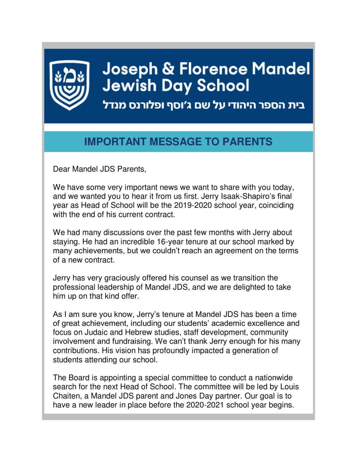 Mandel JDS letter to community