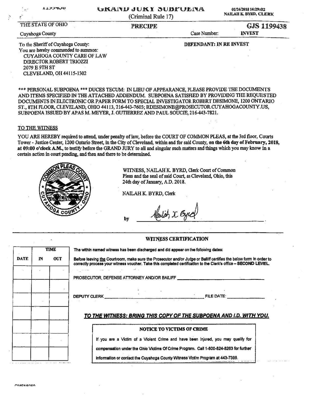 Budish Subpoenaed For Records On Chief Of Staff Others Local News