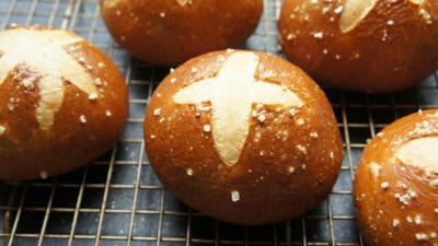 Pretzel challah buns