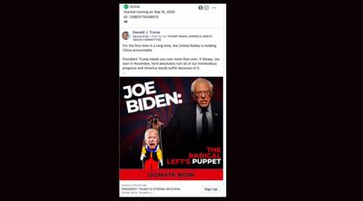 Trump ad featuring Bernie Sanders as puppet master for Biden is anti-Semitic, 2 left-wing Jewish groups say