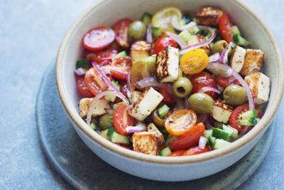 Greek Salad with Fried Halloumi Cheese