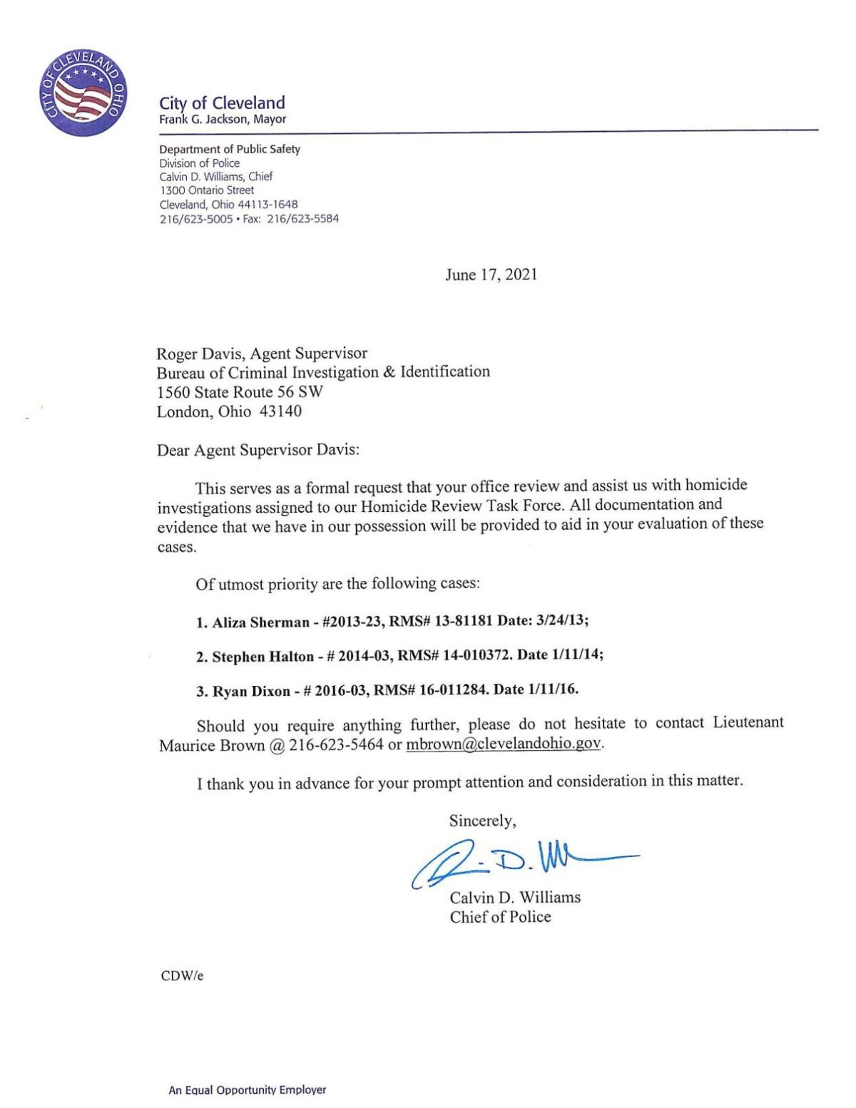 READ: Letter from Cleveland Chief of Police Calvin Williams to the Ohio Bureau of Criminal Investigation