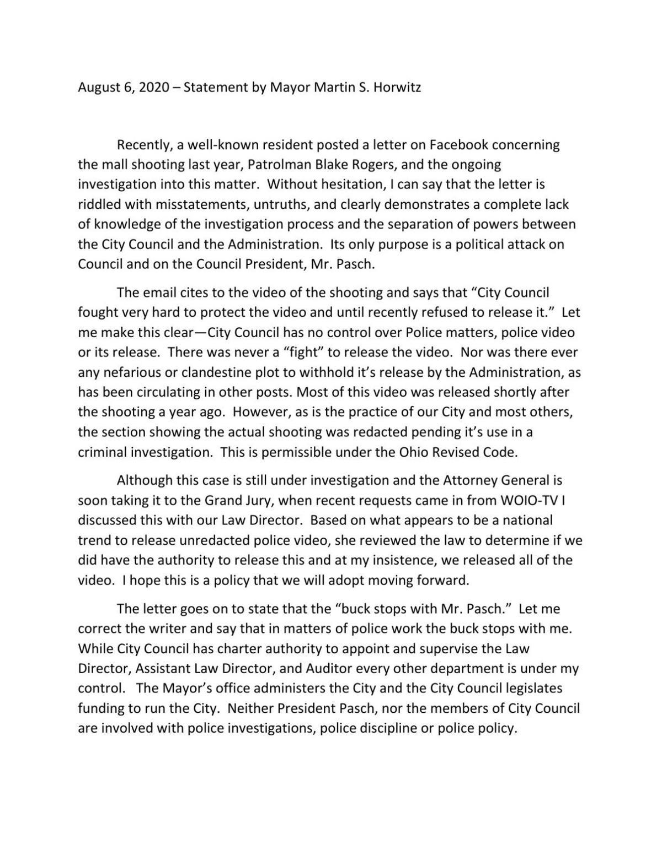 August 6, 2020 – Statement by Mayor Martin S. Horwitz