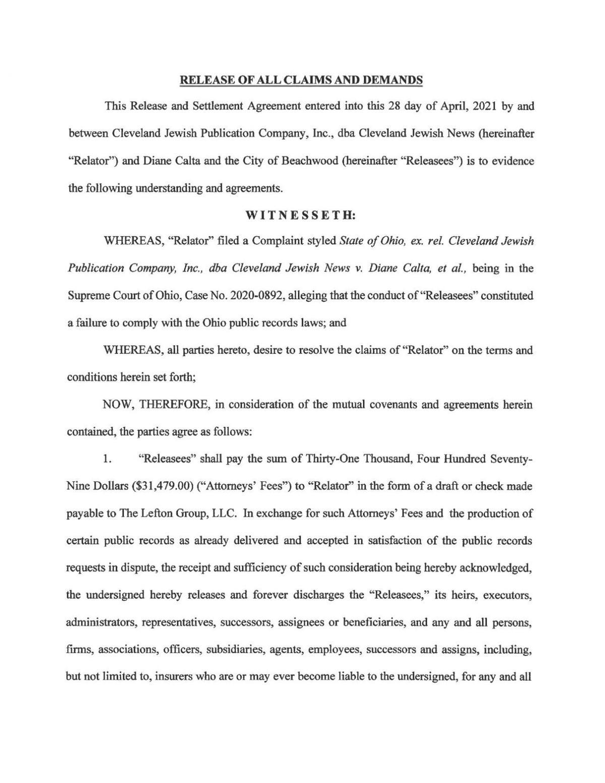 Beachwood lawsuit settlement