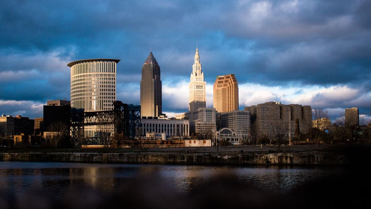 stock downtown Cleveland skyline