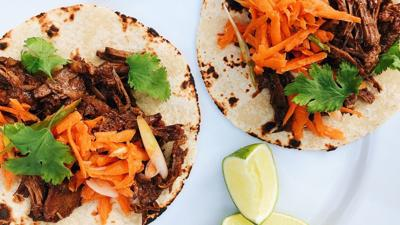 Summer special: Brisket tacos with carrot slaw