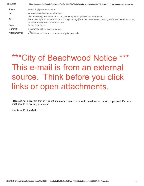 """Beachwood officer beats prisoners"" email"