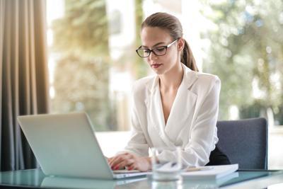 stock woman computer