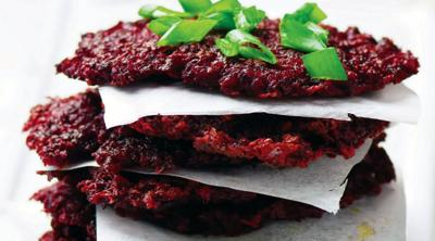 Add some color to your Hanukkah menu with these savory beet latkes
