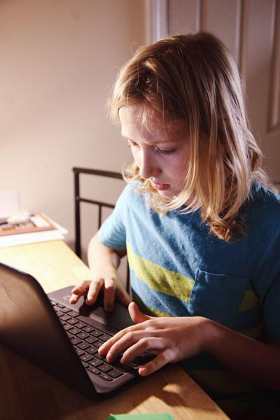stock girl computer