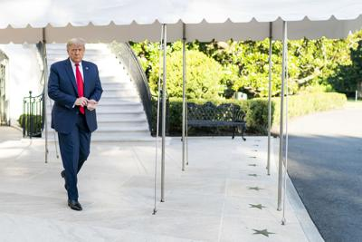 President Donald J. Trump walks from the South Portico entrance