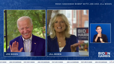 The Bidens tell Jewish supporters the new Jewish year will be happier with Trump out