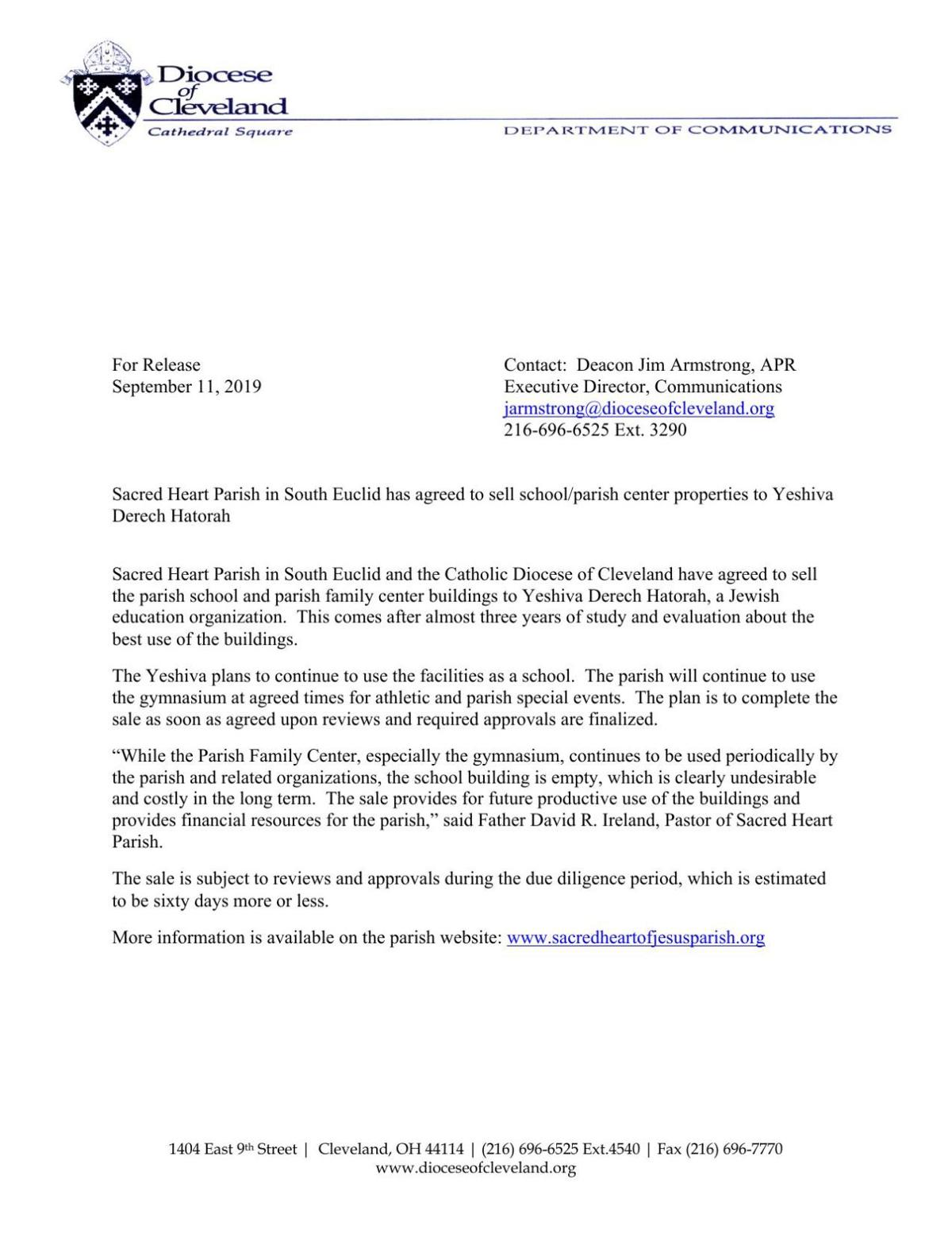 Press release from the Diocese of Cleveland regarding the sale