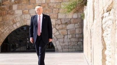 U.S. President Donald Trump at Jerusalem's Western Wall on May 22, 2017.