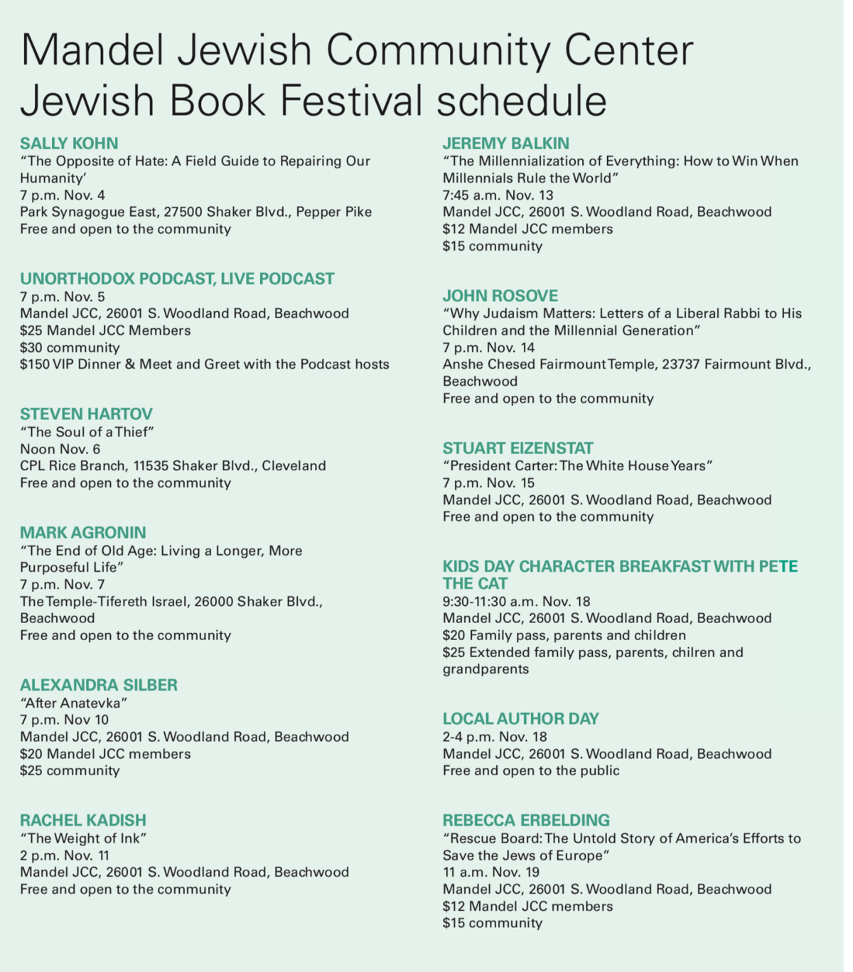 Mandel Jewish Community Center Jewish Book Festival Schedule