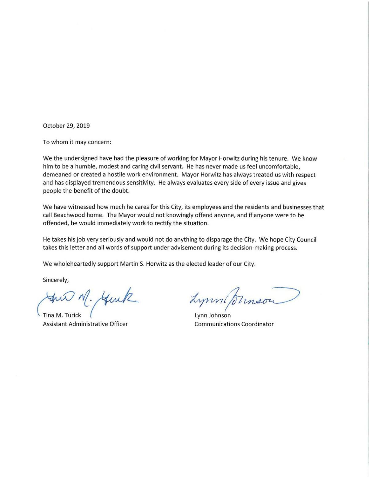 Tina and Lynn Letter - supporting Mayor Martin S. Horowitz