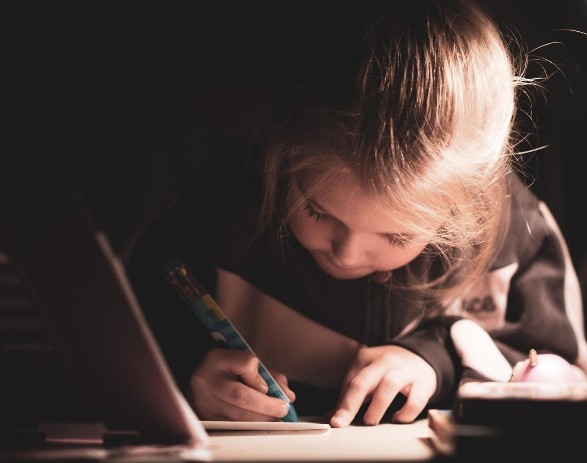 stock kid writing