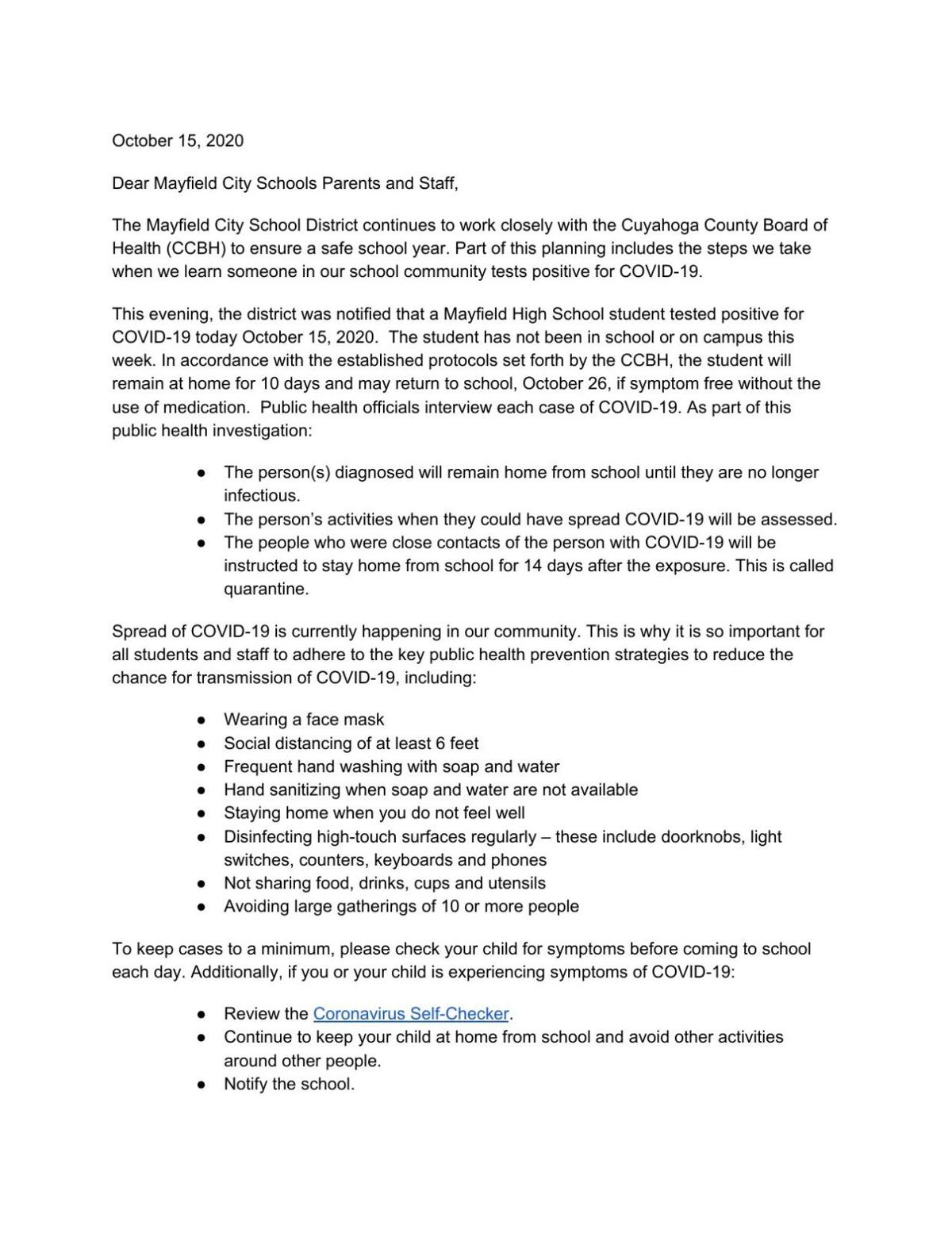 Mayfield City Schools letter Oct. 15, 2020