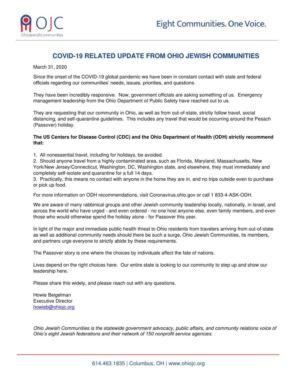 COVID-19 update from Ohio Jewish Communities