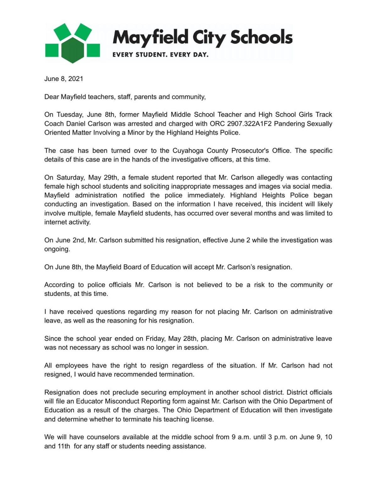 June 8 letter from Superintendent Keith Kelly