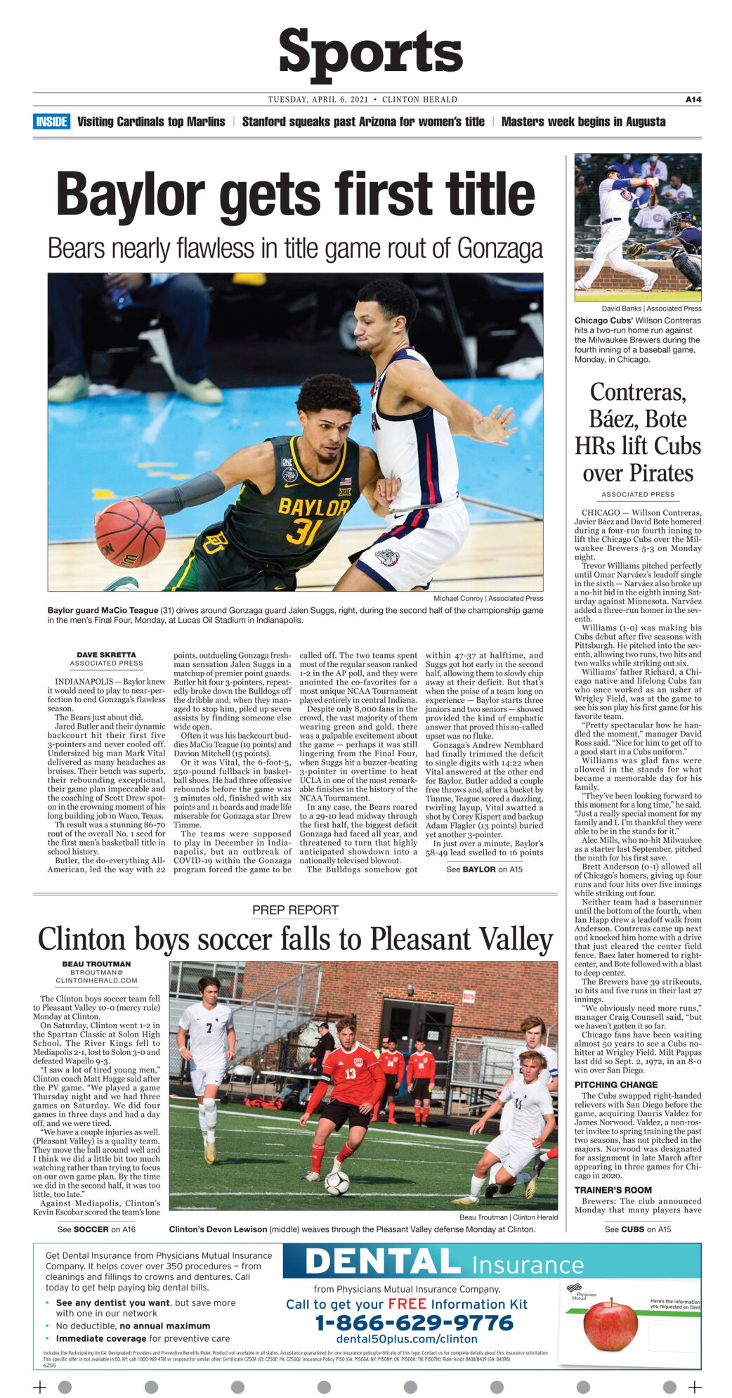 April 6, 2021 Front Sports page