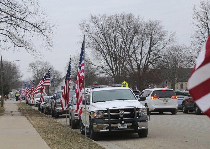 Flags line street